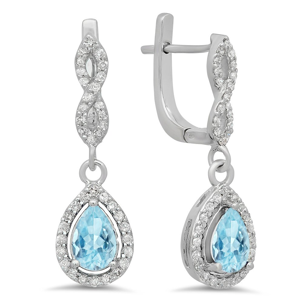 14K White Gold Pear Aquamarine & Round White Diamond Ladies Halo Style Dangling Drop Earrings