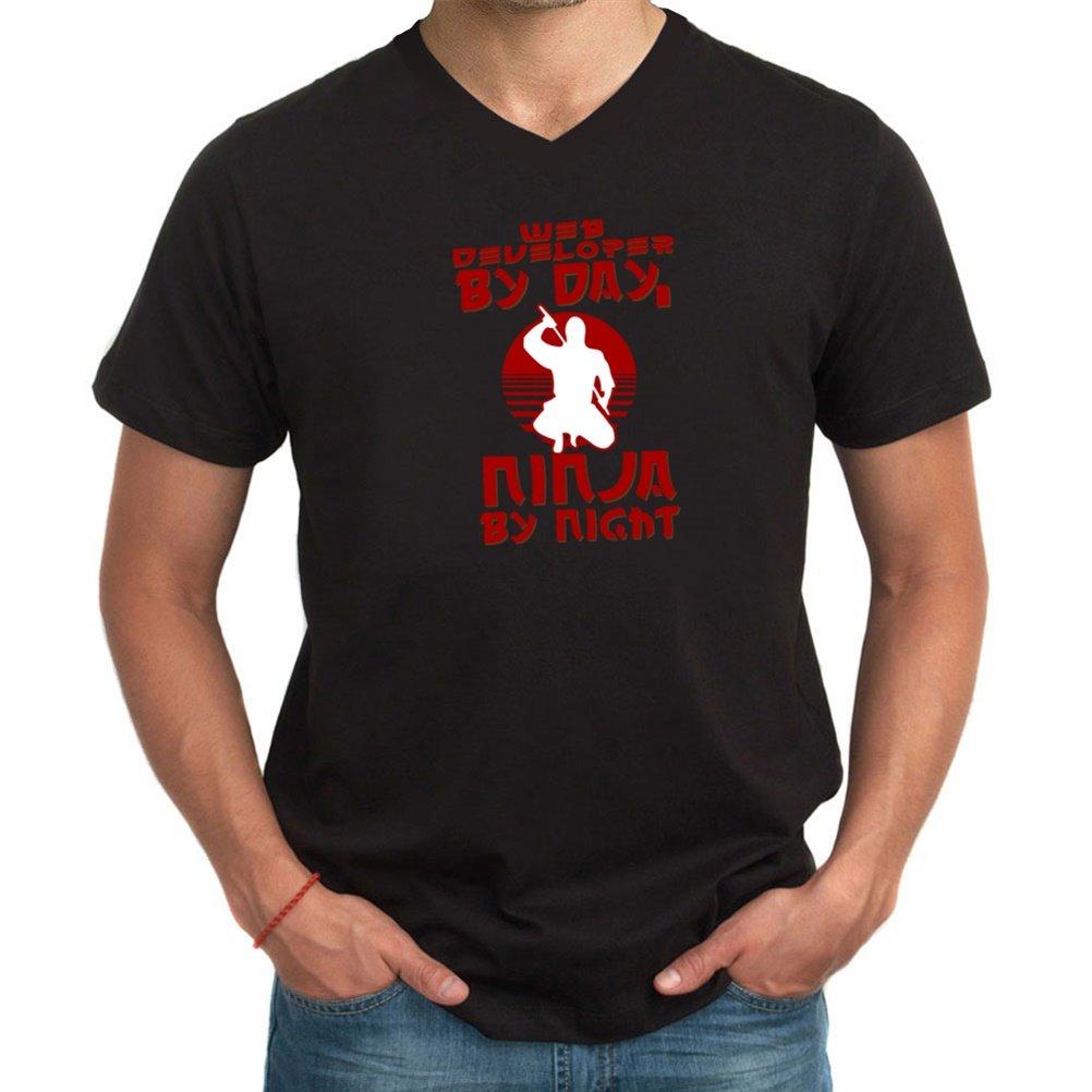 Web by day, ninja by night camiseta de cuello de pico ...