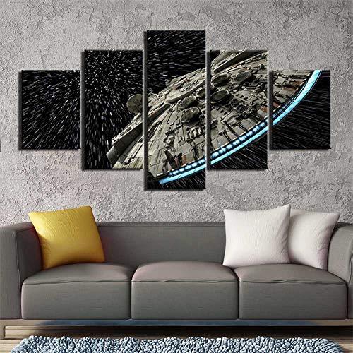 PO: Wall Art Canvas Print Star Wars Batman Poster 5 Pieces Art Home Framed HD Printed Canvas Painting, 10x15x2 + 10x20x2 + 10x25x1,BWithoutframe,M (Best Batman Wallpaper Hd)