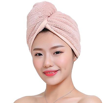 Pelo toalla absorbente de microfibra, cabeza pelo turbante – Toalla de baño Spa gorro de