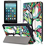 magazine protective hard sleeves - Gzerma Fire 7 Case 2017 Release with Screen Protector for All-New Fire 7 Tablet, Folio Standing PU Leather Cover with Auto Wake / Sleep, Shatter-proof Protective Film for Amazon Fire7 7th Gen, Tree
