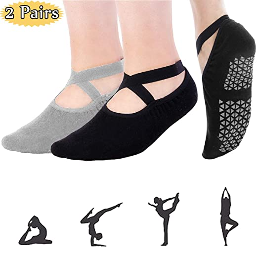 Grip Pilates Barre Yoga Socks –Women Non Slip Socks Men Sticky Slipper Socks with Grippers, Pure Barre Socks