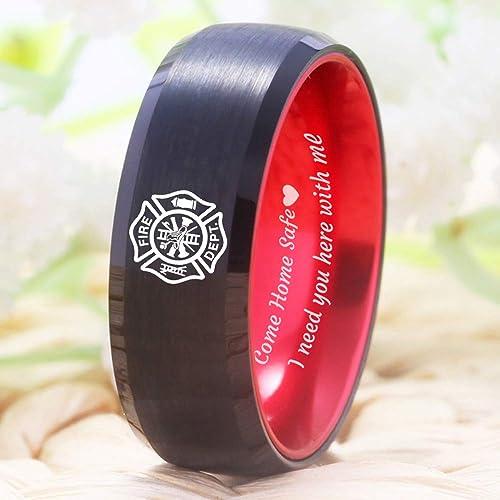 Cloud Dancer Firefighter Fireman Fire Department Fire Police Ring Husband Boyfriend Best Friend Tungsten Ring Gifts