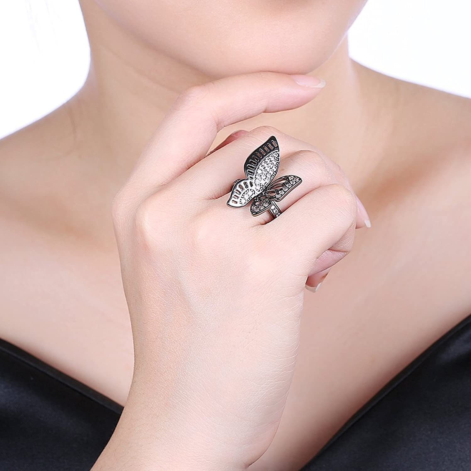 Amazon.com: Women Black Gun Vintage Hollow Butterfly Ring Zircon ...