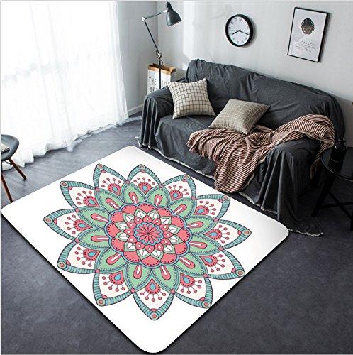 Vanfan Design Home Decorative 440172853 Flower Mandalas Vintage decorative elements Oriental pattern illustration Islam Arabic Indian turkish pakistan chinese ottoman motifs Modern Non-Slip (Bigfoot Ottoman)