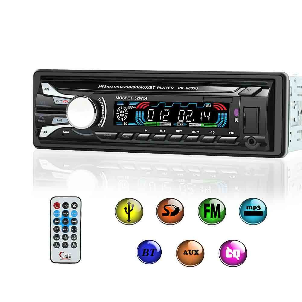 Autoradio Bluetooth Stereo Auto Frontalino Estraibile Chiamate Vivavoce Radio FM AM Ricevitore Slot Scheda SD Ingresso USB AUX FM MP3 Player 4x50W con Telecomando Nero