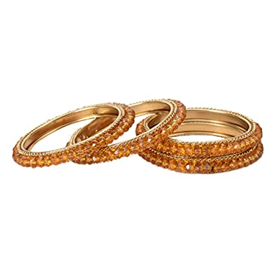 Buy Eliviya Fashions Indian Traditional Antique Bangles With Light Coffee  Color Crystal Beeds 2.4 Inch For Women Online At Low Prices In India |  Amazon ...