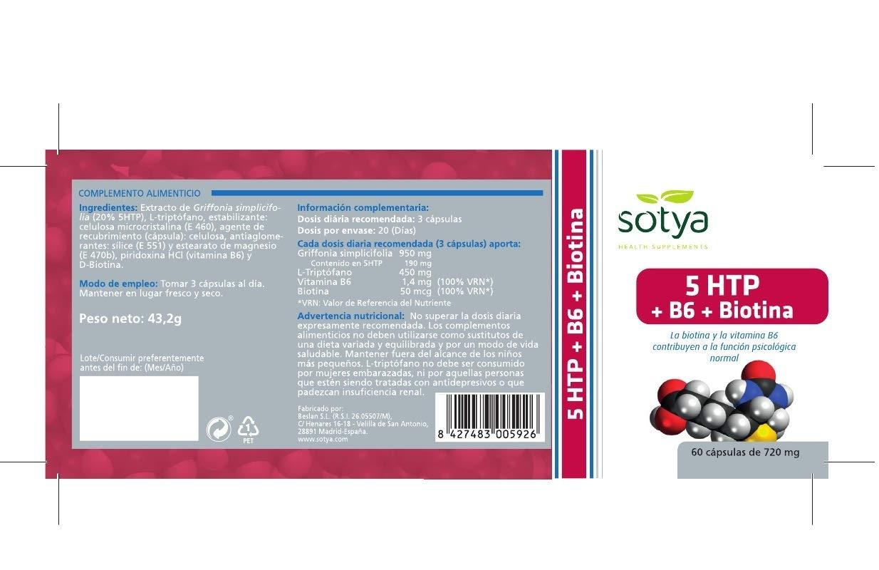 SOTYA - PACK 2U. 5HTP TRIPTOFANO + B6 SOTYA 60 CAPSULAS 750 ...