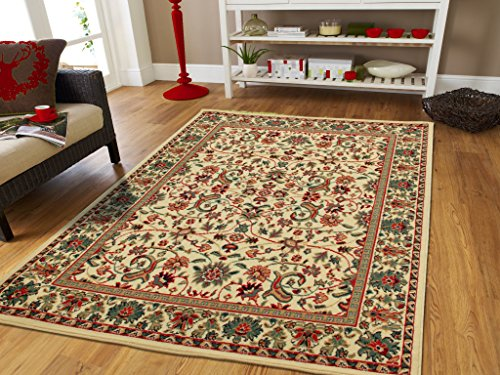 Large Area Rug Oriental Rug 8x11 Traditional Rugs Cream Persian Rugs for Living Room Cream Carpet Under 100 (Oriental Living Room Furniture)