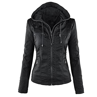 39b3bcc1b4 Seamido Women Hooded Faux Leather Jacket Motorcycle Jacket at Amazon ...