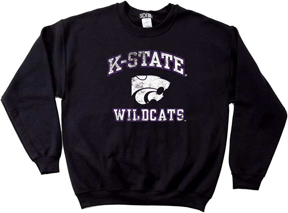 NCAA Kansas State Wildcats 50//50 Blended 8-Ounce Vintage Mascot Crewneck Sweatshirt