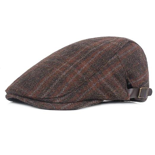 Fasbys Mens Flat Cap Retro Newsboy Adjustable Hat Ivy Gatsby Hunting Driver  Hat (A- 1bbc451be564