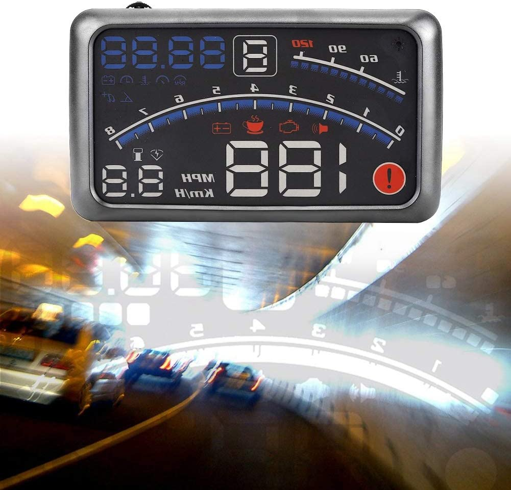 5.5 inch Car Hud Heads Up Display Universal F4 MPH Over Speed Alarm Speedometer Head Up Display MPH//KM//h with Windshield Projection Film 12V for Cars Navigation