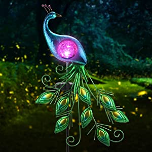 CHINLY Garden Decorations Outdoor, Metal Peacock Decor Solar Garden Lights Stake Waterproof for Patio Yard Pathway (Crystal Lampshade)