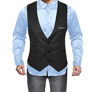 Men/'s Wetlook Leather Formal Casual Suit Vest Waistcoat Clubwear Wedding Prom