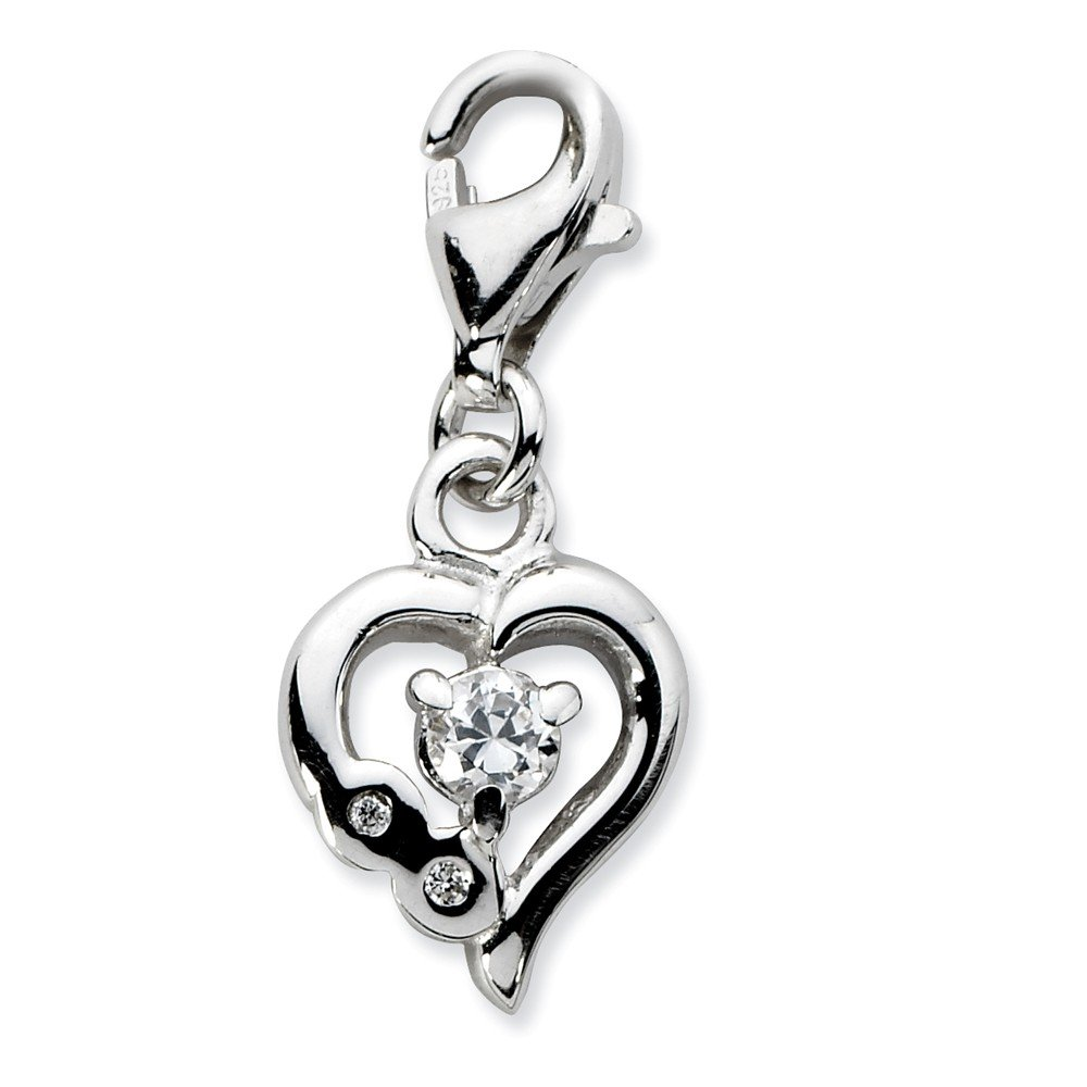 FB Jewels Solid 925 Sterling Silver Click-On Cubic Zirconia CZ Polished Heart Charm