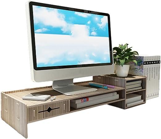 Estantes flotantes de madera para oficina y monitor de ordenador, soporte de base, acabado de escritorio: Amazon.es: Hogar