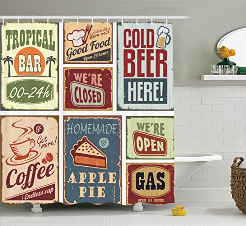 Ambesonne Collection Advertising Beverage Polyester