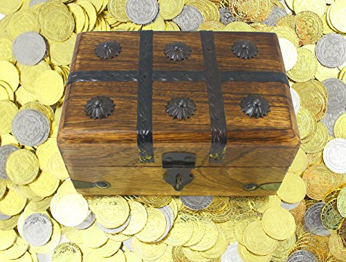 Perfect Game Silver Coin - Well Pack Box Pirate Coins - 50 Metal Gold And Silver Doubloons Coins PLUS Solid Wood Treasure Chest