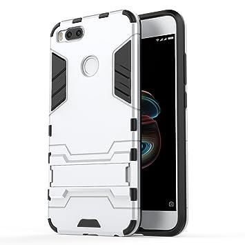 XiaoMi Mi 5X Funda, SMTR Ultra Silm Híbrida Rugged Armor Case Choque Absorción Protección Dual Layer Bumper Carcasa con pata de Cabra para XiaoMi Mi 5X ,Bianca: Amazon.es: Electrónica