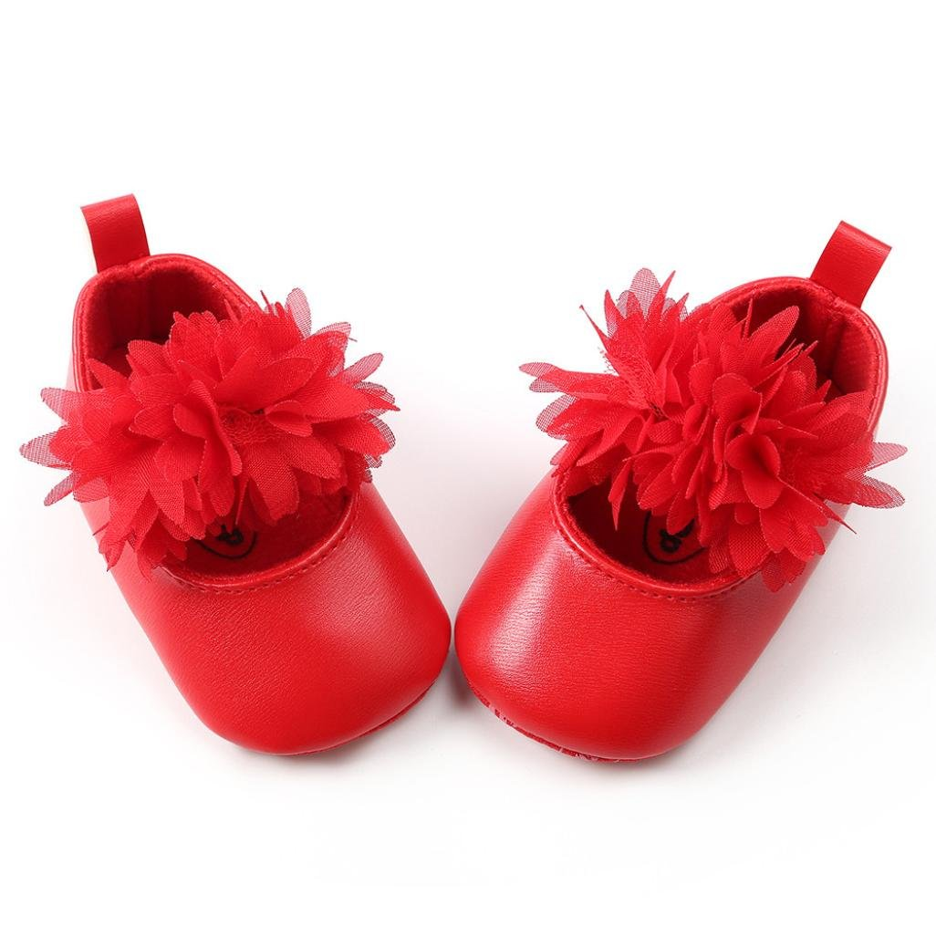 Voberry Baby Girls Leather Mary Jane with Flowers Toddler Soft Sole Princess Prewalker Shoes