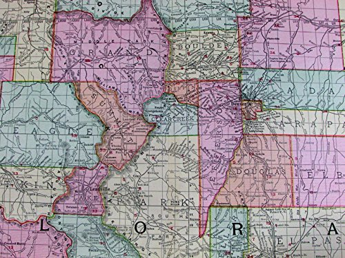 oads overprinted Union Pacific 1907 huge detailed state map (1907 Union)