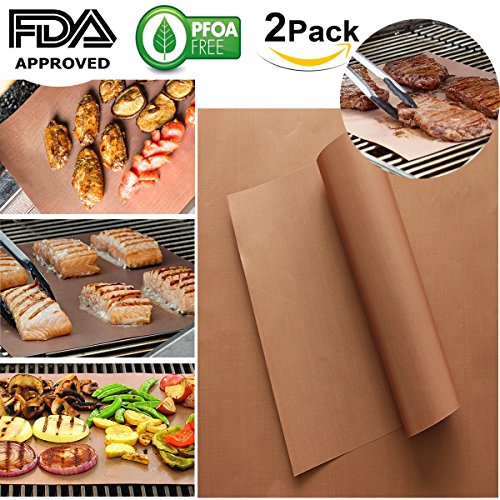 PFOA FREE 0.2MM DOUBLE THICKER Golden Grill BBQ Mat Set of 2 100% Non-stick BBQ Grill and Baking Mats Reusable and Easy to Clean - Works on Electric Grill, Gas and More