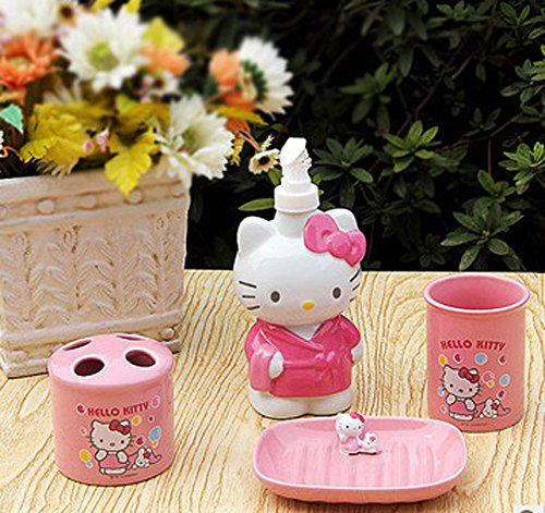 YOURNELO Cute Ceramic Hello Kitty Print Bathroom Accessories Set of 4 Pcs]()