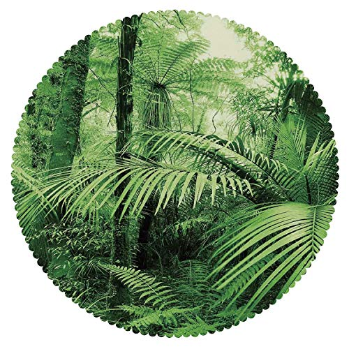 iPrint Mildewproof Round Tablecloth [ Rainforest Decorations,Palm Trees and Exotic Plants in Tropical Jungle Wild Nature Zen Theme Illustration,Green ] Kids Designs