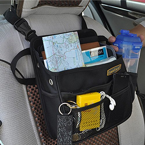 Front Organizer Pouch (Multiple Purpose Car Seat Organizer Front & Back Seat Hanging Bag Drivers Objects iPad Holder Storage Container Box Bin Pouch Auto Supplies)
