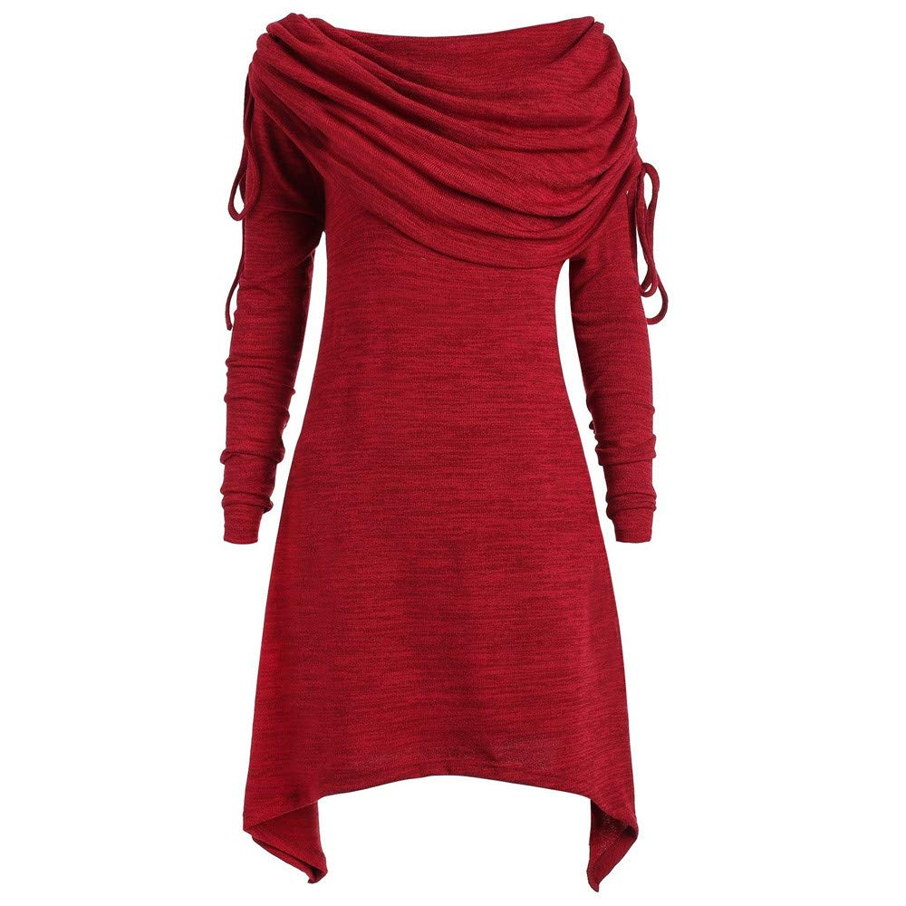 Sweatshirts Women KYLEON Plus Size Fashion Solid Ruched Long Foldover Collar Tunic Top Blouse Wine by KYLEON_Sweatshirts