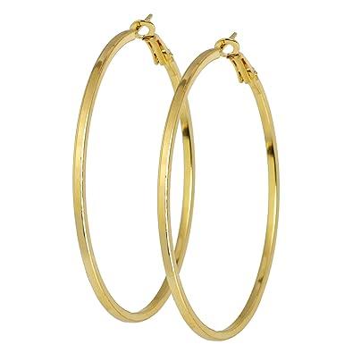 Buy Memoir Gold Plated Brass Big Simple Hoop Bali Fashion Earrings