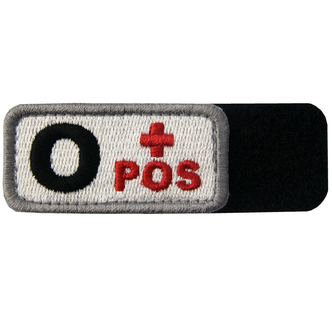 T/áctico Tipo O positivo Tipo de sangre emblema Broche Bordado de Gancho y Parche de Gancho y bucle de cierre Negro rojo
