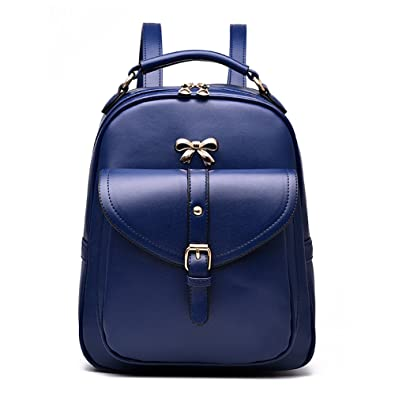 87aacb9d40 Tibes Fashion Pu Leather Backpack Womens Shoulder bags Girls Daypack Blue 2