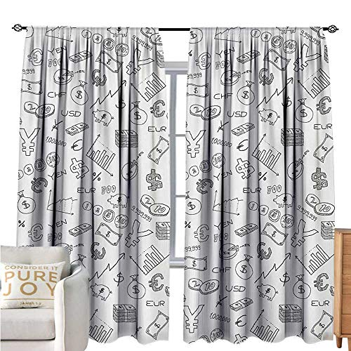 bybyhome MoneyPolyester curtainMonochrome Pattern with Euro Dollar Yen Symbols Coins Piggy Bank Stock Graphs DoodleDrapes for Living Room W84 xL108 Black White