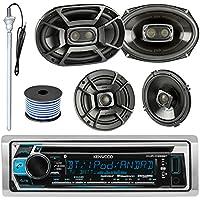 Kenwood KMR-D365BT MP3/USB/AUX CD Bluetooth Marine Boat Stereo Receiver Bundle Combo W/ 2 Polk 6.5 Audio Speakers + 2x 6X9 3-Way Coaxial Speaker + Enrock 22 Radio Antenna + 50FT Speaker Wire