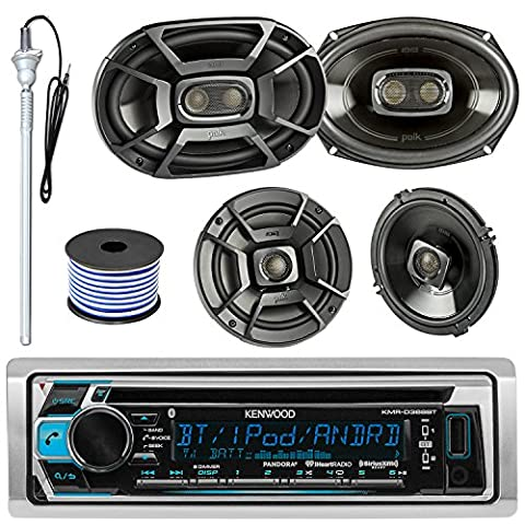 Kenwood KMR-D365BT MP3/USB/AUX CD Bluetooth Marine Boat Stereo Receiver Bundle Combo W/ 2 Polk 6.5
