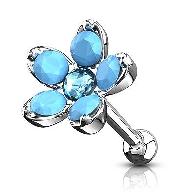 Opal imitacion piercing oreja Tragus Helix cartilage pendientes
