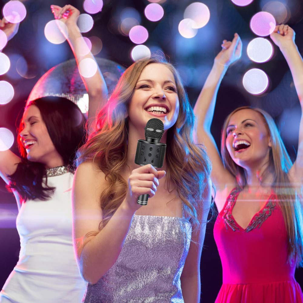 Henkelion Wireless Bluetooth Karaoke Microphone for Kids, Kids Karaoke Machine Portable Handheld Mic Speaker Toy Home Party Birthday Graduation for iPhone Android iPad All Smartphone - Black by Henkelion (Image #7)