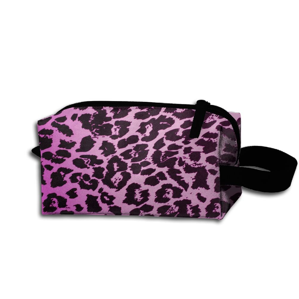 Makeup Cosmetic Bag Pink Leopard Texture Animal Art Zip Travel Portable Storage Pouch For Mens Womens