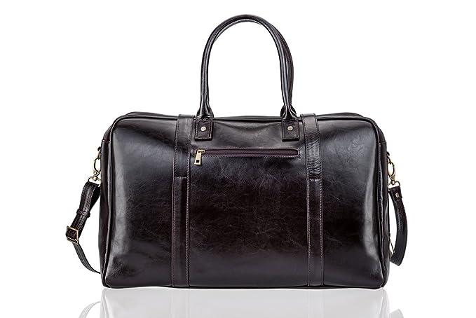 Solier hommes en cuir véritable sac de voyage sac à bandoulière week-end sac de sport haut de gamme SL16 (Marron clair) CSDr75ott