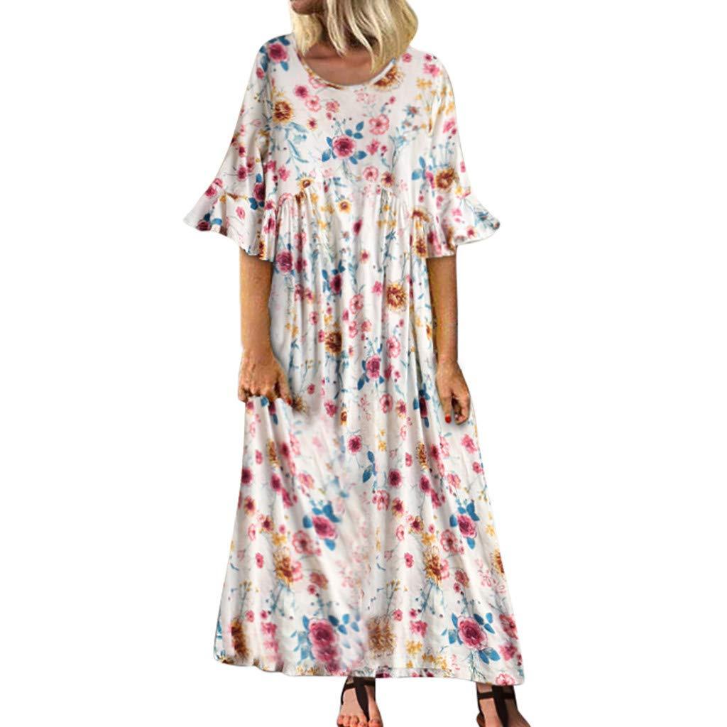 TOTOD Maxi Dress for Women Vintage Loose Leisure Trumpet Short Sleeve O-Neck Floral Print Bohemia Style Long Dress White