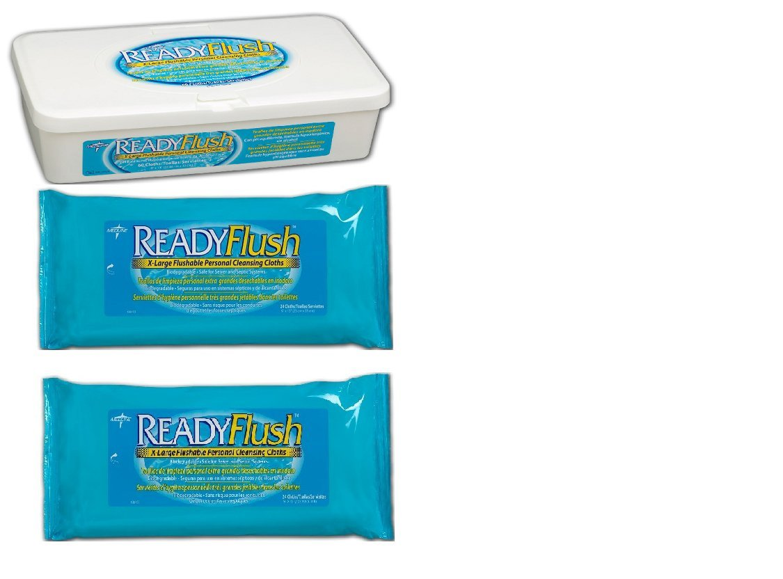 Amazon.com: ReadyFlush X-Large 9x13 Personal Cleansing Cloths -Reusable Tub of 60 Flushable Wipes + 2 Refill Packs: Health & Personal Care