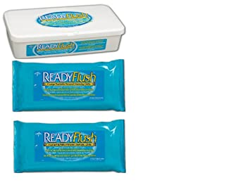 ReadyFlush X-Large 9x13 Personal Cleansing Cloths -Reusable Tub of 60 Flushable Wipes +