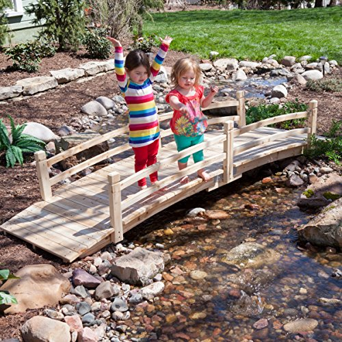 Attractive Design, Weather-Resistant 10-ft. Wood Garden Bridge with Rails - Assembly Required by Coral Coast (Image #2)