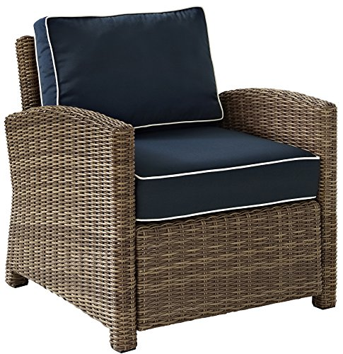 Crosley Furniture Bradenton Outdoor Wicker Arm Chair with Cushions – Navy Review