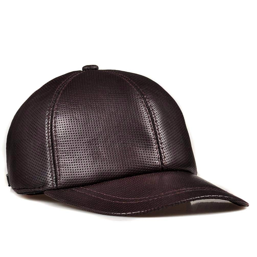 Thundertechs Ladies and Gentlemen, Winter hat, Leisure Baseball Cap, Leather Cap, Cap, Cap (Color : Brown, Size : 22-23.2inch)