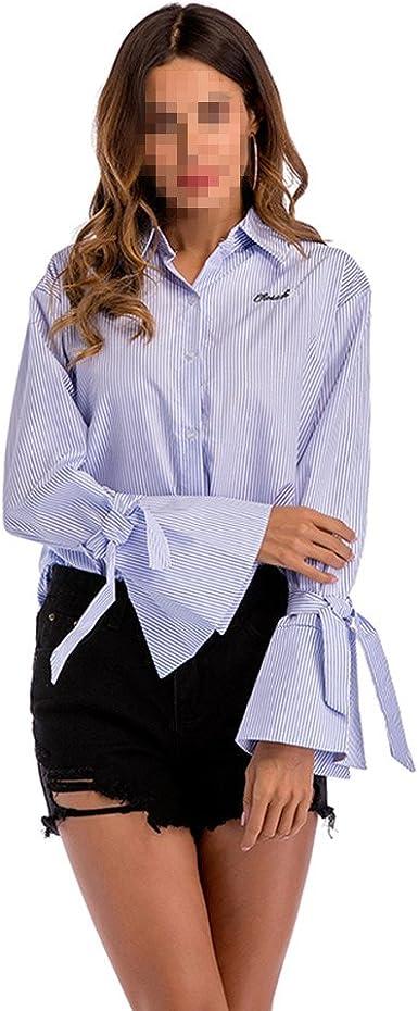 OULII Camisa de Rayas Sueltas Ocasionales de Las Mujeres ...