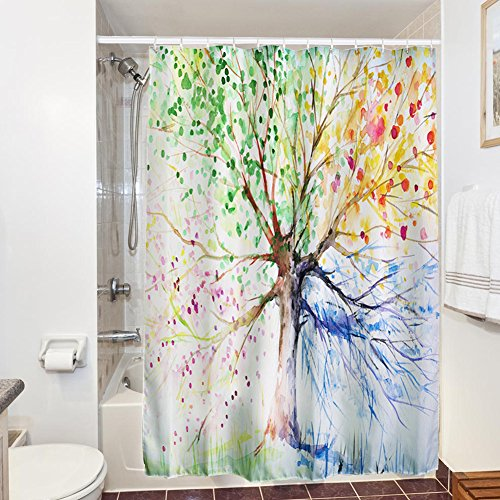 72 X 72 Inch shower curtain, KAISI Colorful Tree Four Seasons Anti Bacterial Waterproof Rust Proof Grommets