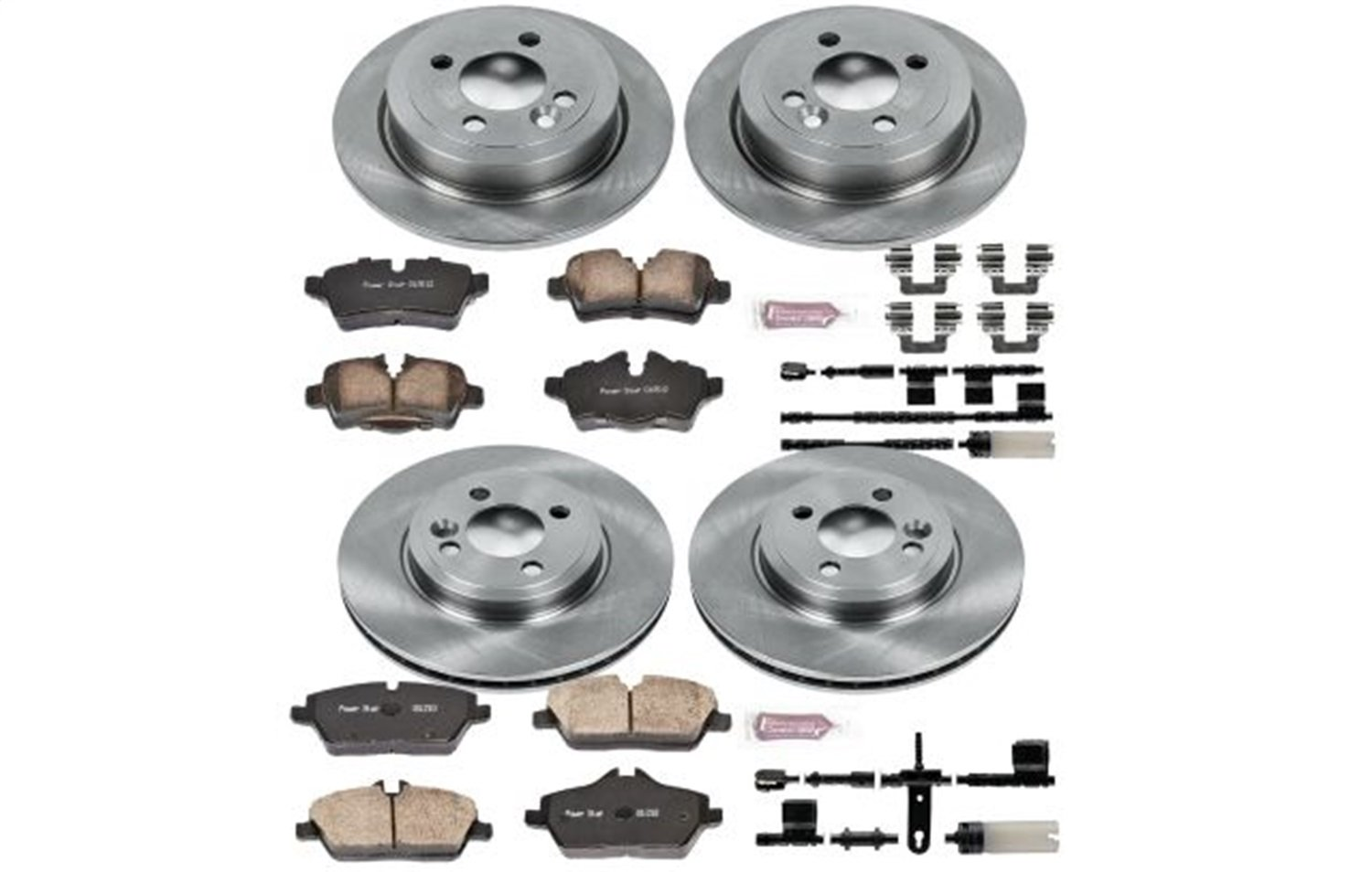 R1 Concepts CEDS10769 Eline Series Cross-Drilled Slotted Rotors And Ceramic Pads Kit Front and Rear